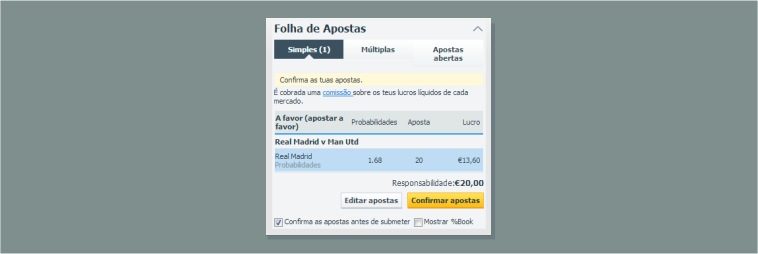 Apostar a favor na Betfair