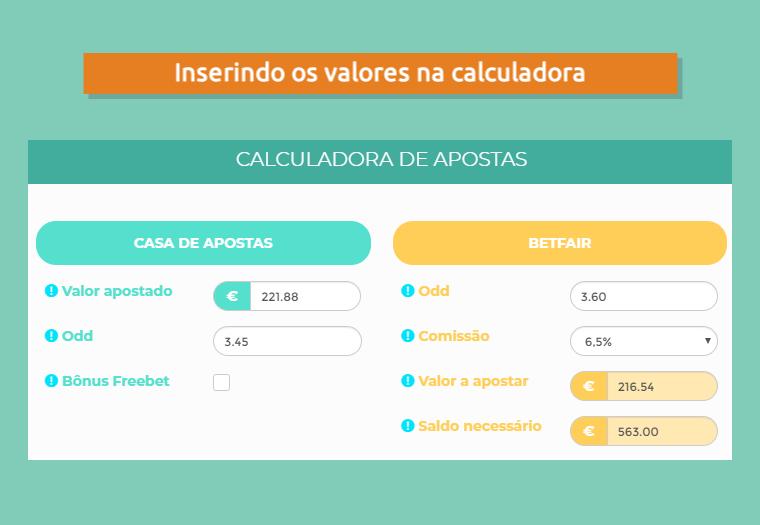 Inserindo os valores do bônus 188bet na calculadora