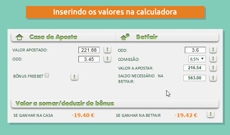 Inserindo os valores do bônus 188bet na calculadora