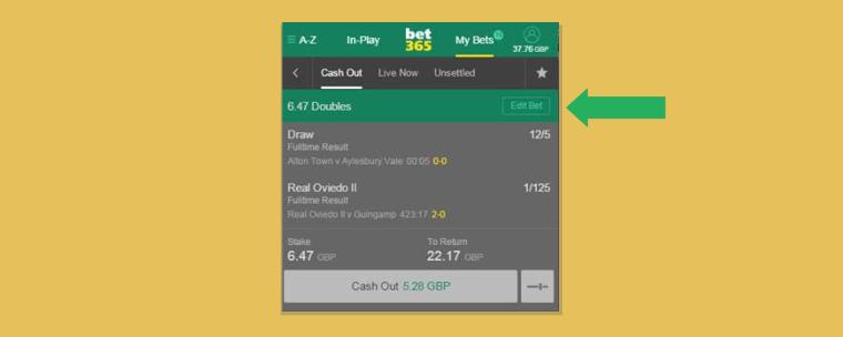 A opção editar apostas na Bet365