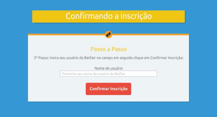 Confirmando a inscrição no Desafio Brasileirão Betfair