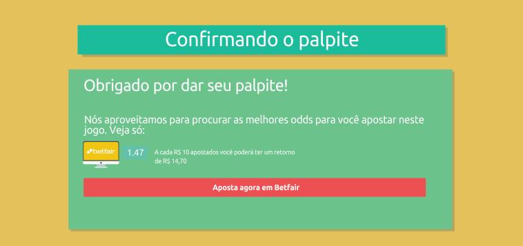 Confirmando seu palpite no Desafio Brasileirão Betfair