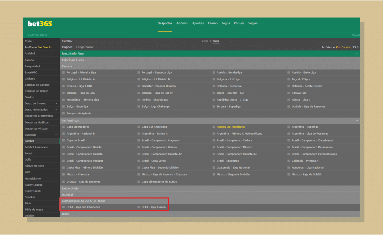 Encontre os jogos da Liga dos Campeões - Apostar pela Bet365