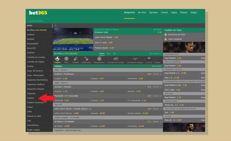 Encontre os jogos na barra lateral - Apostar na Liga dos Campões na Bet365