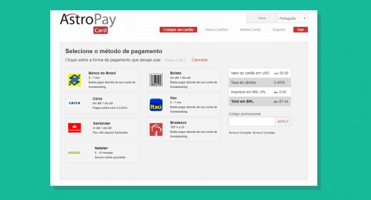 Selecione seu método de pagamento do cartão Astropay
