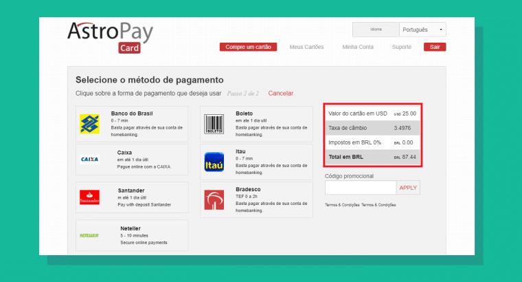 Taxas para compra de créditos Astropay Card