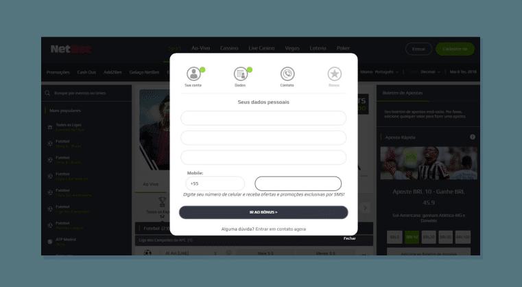 Inserindo seus contatos - Cria conta na Netbet