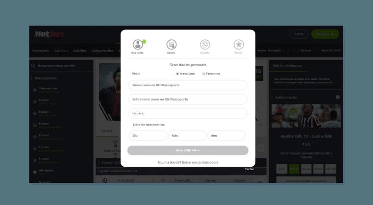 Inserindo seus dados- Criar conta na Netbet