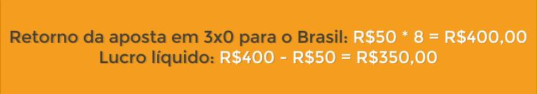 Cálculo do retorno na aposta em 3X0 Brasil
