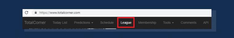 menu principal para acessar as ligas