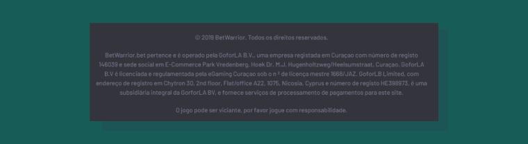 A BetWarrior é uma casa de apostas regulamentada