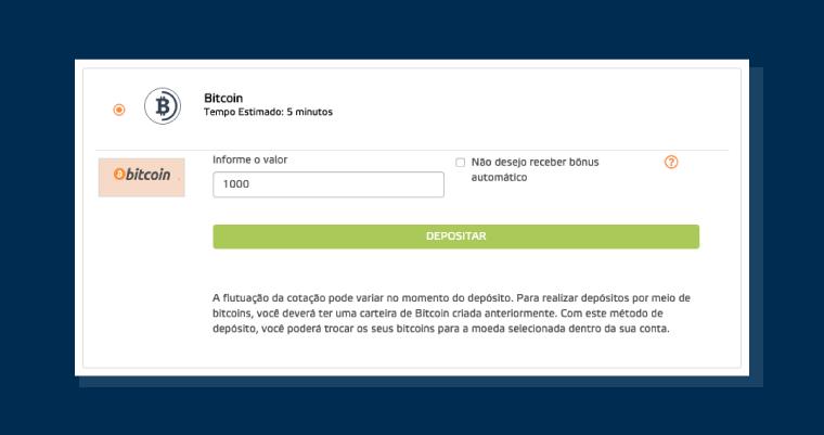 selecionamos a opção de depósito via bitcoin