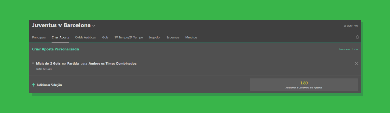 painel do Bet Builder